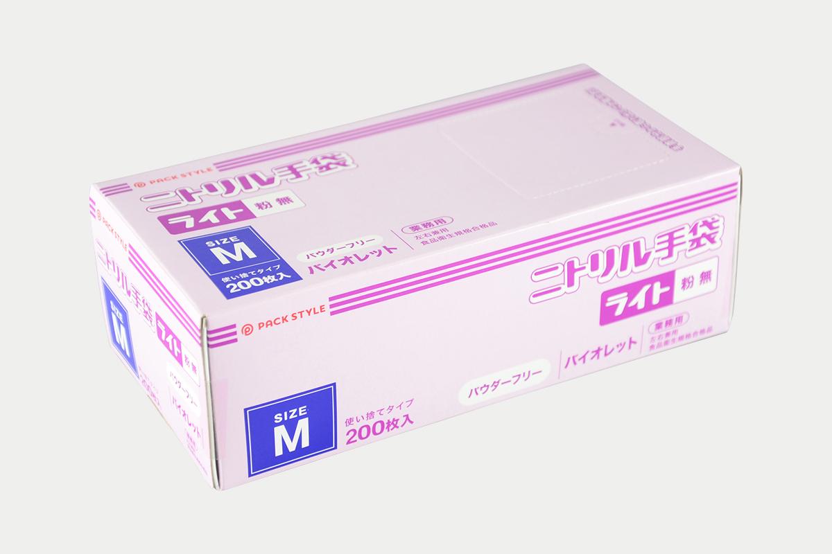 ニトリル手袋ライト粉無  M  紫