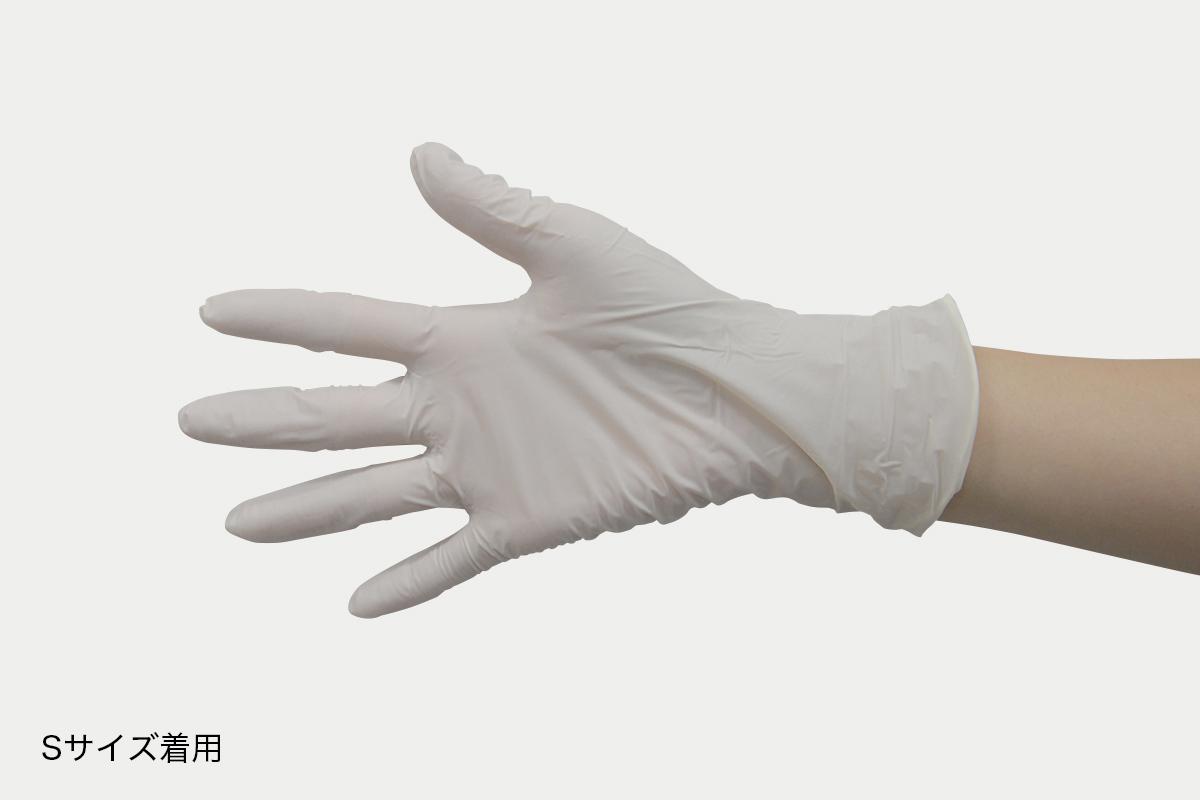 ニトリル手袋ライト粉無  S  白