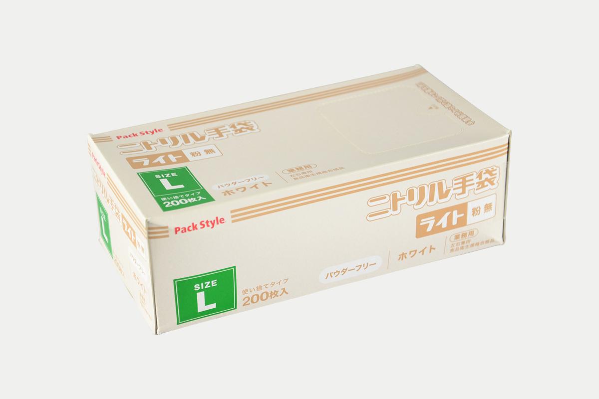 ニトリル手袋ライト粉無  L  白